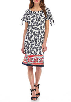 New Directions Petite Size Paisley Printed Dress