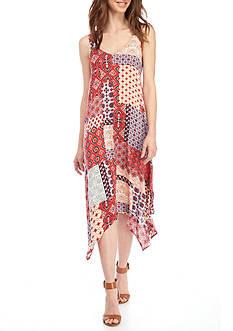 New Directions Patchwork Print Sleeveless Dress