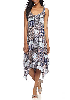 New Directions Sleeveless Patchwork Printed Dress