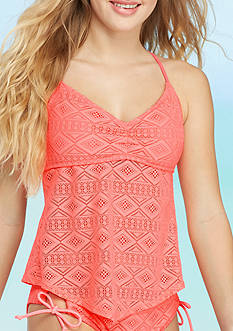 Red Camel Mojave Diamond Crochet Tankini Swim Top