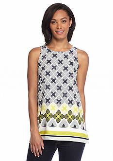 Sophie Max Sleeveless Linear Flower Print Tunic