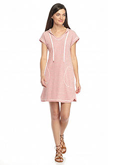 Sophie Max Hooded Striped French Terry Dress