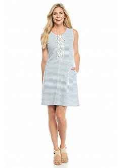 Sophie Max Lace Up Striped French Terry Dress