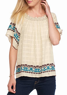 Sophie Max Embroidered Gauze Peasant Top