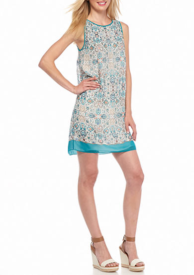 Sophie Max Crimped Printed Shift Dress