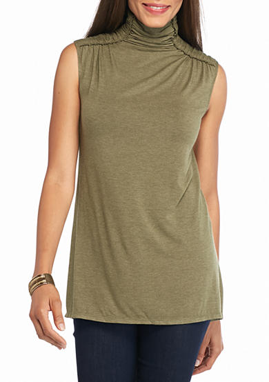 Sophie Max Sleeveless Jersey Mock Neck Top