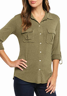 Sophie Max Roll Sleeve Button Up Pocket Shirt