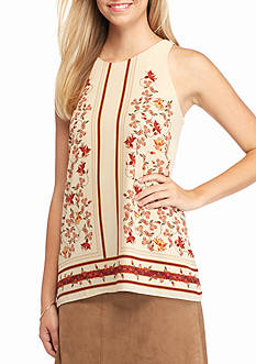 Sophie Max Printed Sleeveless Trapeze Blouse