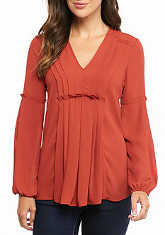 Sophie Max Pleated Long Sleeve Blouse