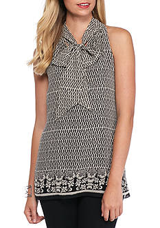 Sophie Max Tie Neck Sleeveless Printed Blouse
