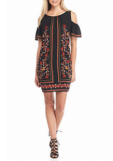 Sophie Max Printed Cold Shoulder Dress