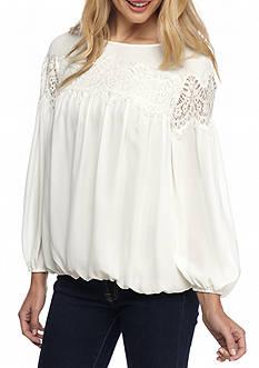 Sophie Max Long Bubble Lace Sleeve Blouse