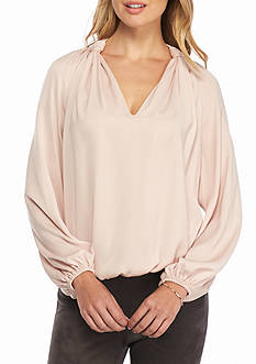 Sophie Max Knotted V Neck Blouse