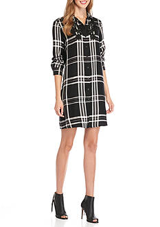 Sophie Max Plaid Button Up Shirt Dress