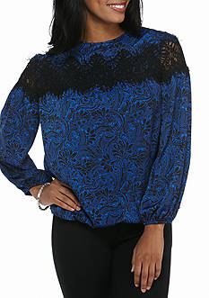 Sophie Max Long Bubble Sleeve Lace Top