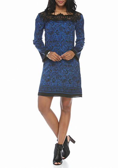 Sophie Max Long Sleeve Lace Trim Square Neck Dress