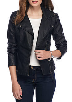 Sophie Max Faux Leather Moto Jacket
