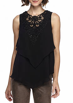 Sophie Max Sleeveless Yoke Tier Blouse