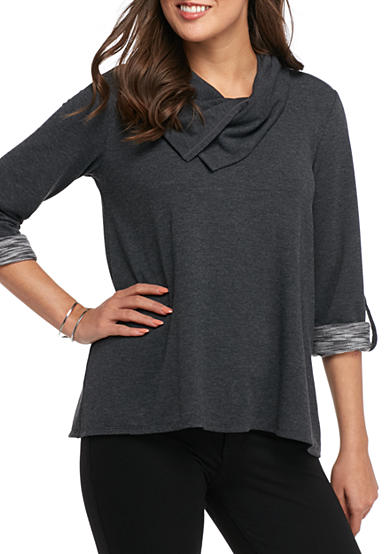 Sophie Max Cowl Neck French Terry Top