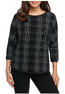 Sophie Max Knit Jacquard Drop Sleeve Top