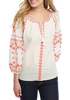 Sophie Max Embroidered Juliette Sleeve Deep V-Neck Top