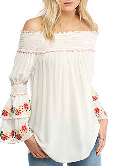 Sophie Max Embroidered Off The shoulder Juliette Tier Sleeve Top