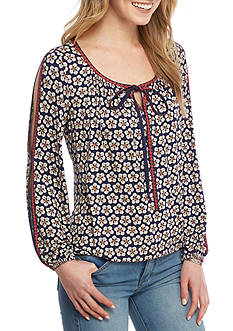 Sophie Max Printed Rayon Jersey Top with Ties