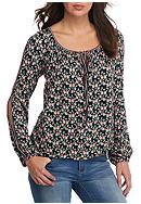 Sophie Max Printed Open Sleeve Top With Ties