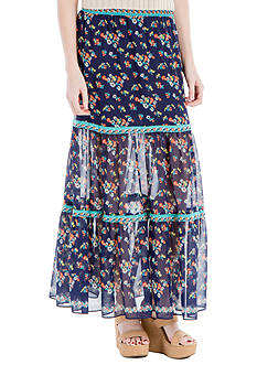 Sophie Max Printed Texture Crepe Elastic Waistband Maxi Skirt