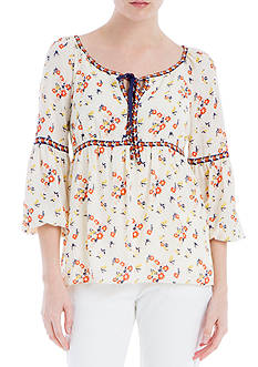 Sophie Max Printed Texture Crepe Blouse with Neck Tie