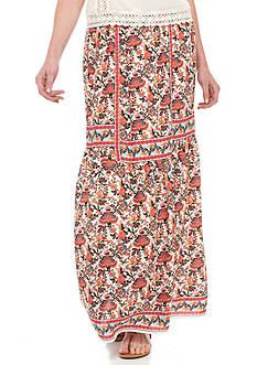 Sophie Max Long Ruffle Print Skirt
