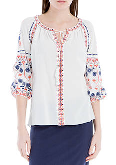 Sophie Max Cotton Dobby Top with Tie Blouse