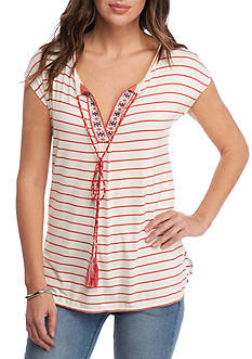 Sophie Max Stripe Jersey Top with Printed Trim