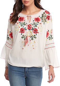 Sophie Max Embroidered Flutter Sleeve Blouse