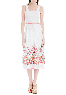 Sophie Max Floral Smocked Jacquard Dress