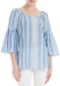 Sophie Max Flutter Sleeve Stripe Voile Blouse