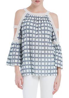 Sophie Max Cotton Crepe Grid Cold Shoulder Top
