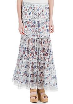 Sophie Max Printed Textured Crepe Long Skirt