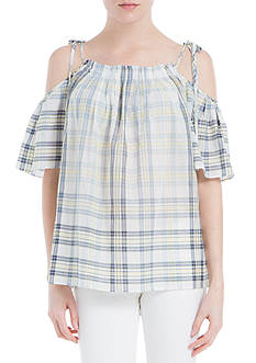 Sophie Max Plaid Cold Shoulder Top