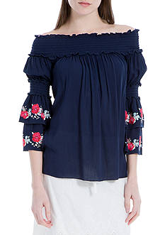 Sophie Max Embroidered Off the Shoulder Top