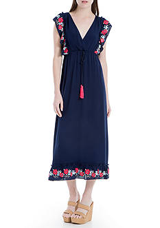 Sophie Max Embroidered Crepe Dress