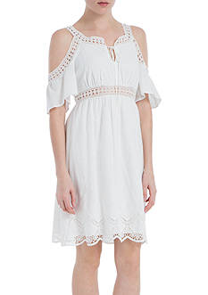 Sophie Max Embroidered Cold Shoulder Dress
