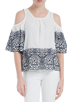 Sophie Max Embroidered Cold Shoulder Top