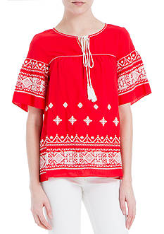 Sophie Max Embroidered Peasant Top