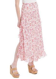 Sophie Max Printed Cotton Crepe Maxi Skirt with Ruffles