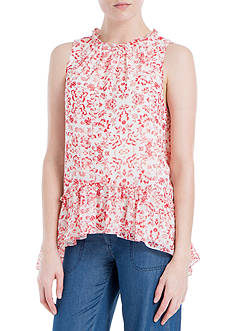 Sophie Max Printed Textured Sleeveless Blouse