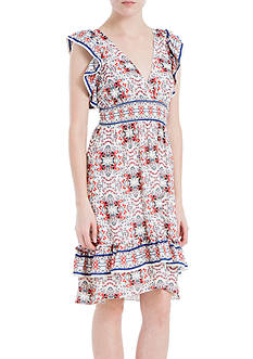 Sophie Max Printed Poly Crepe Dress