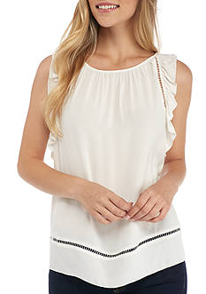 Sophie Max Sleeveless Ruffle Top with Back Keyhole Button Closure