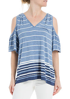 Sophie Max Striped Cold Shoulder Top