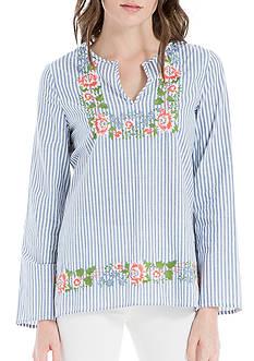 Sophie Max Embroidered Split Neck Top